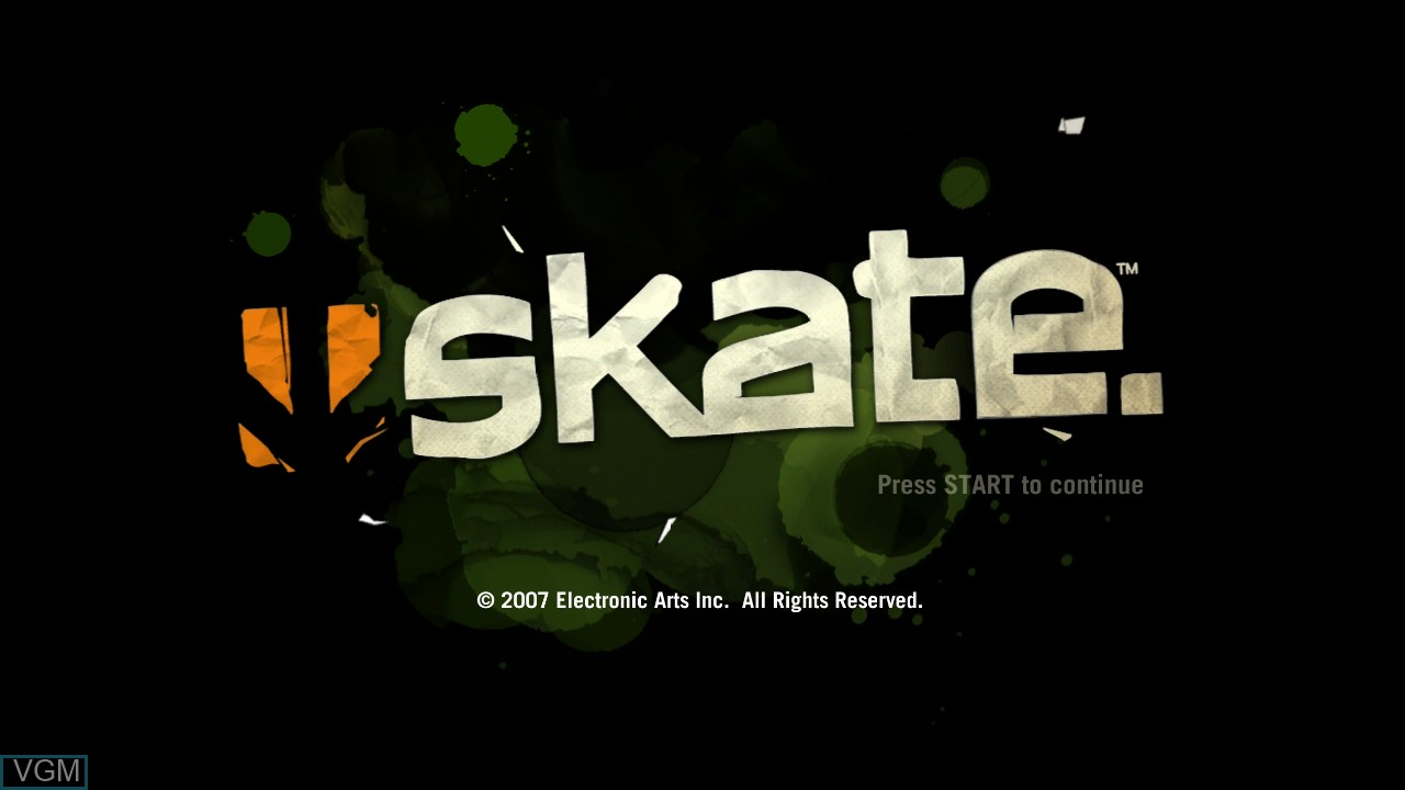 Title screen of the game Skate on Microsoft Xbox 360