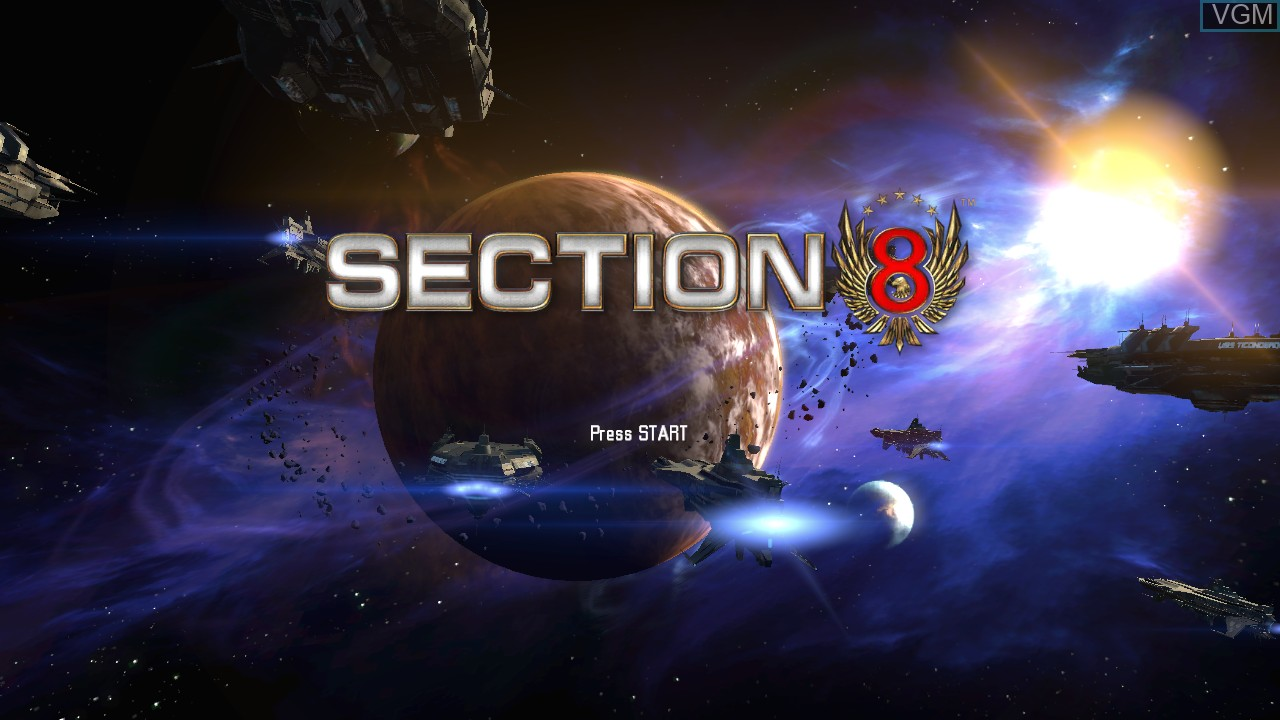 Title screen of the game Section 8 on Microsoft Xbox 360