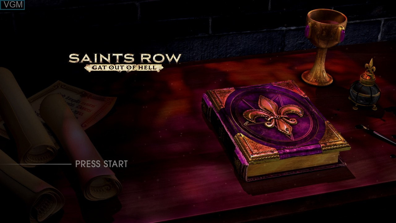 Title screen of the game Saints Row - Gat Out of Hell on Microsoft Xbox 360
