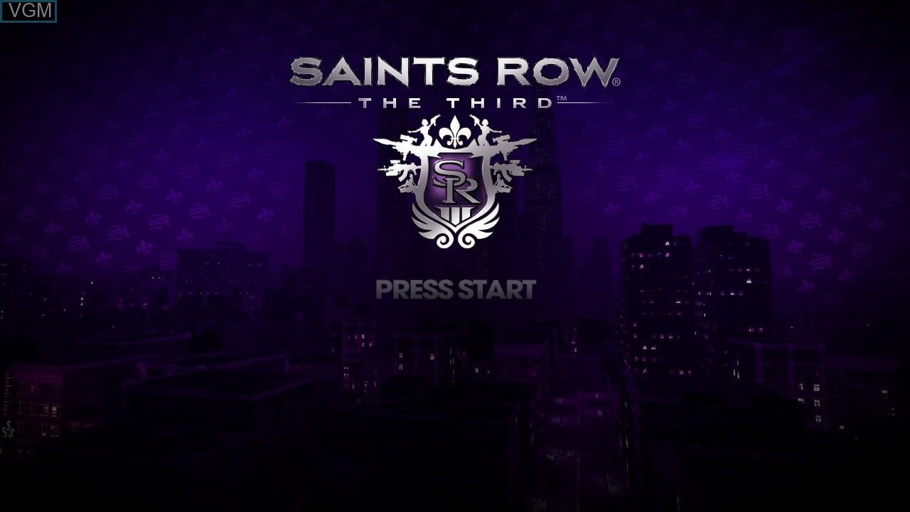 Title screen of the game Saints Row - The Third on Microsoft Xbox 360