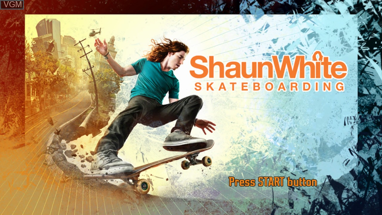 Title screen of the game Shaun White Skateboarding on Microsoft Xbox 360
