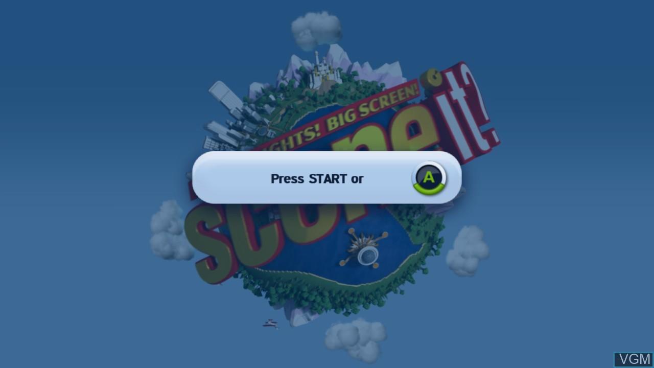 Title screen of the game Scene It? Bright Lights! Big Screen! on Microsoft Xbox 360