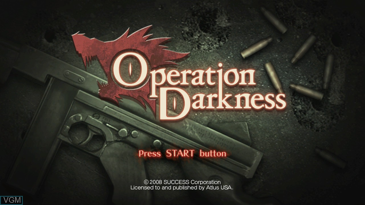 Title screen of the game Operation Darkness on Microsoft Xbox 360