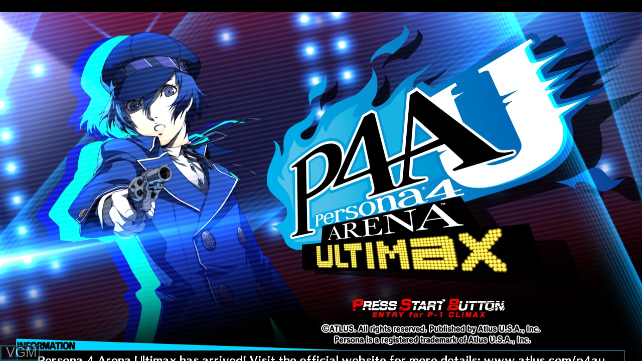 Title screen of the game Persona 4 Arena on Microsoft Xbox 360