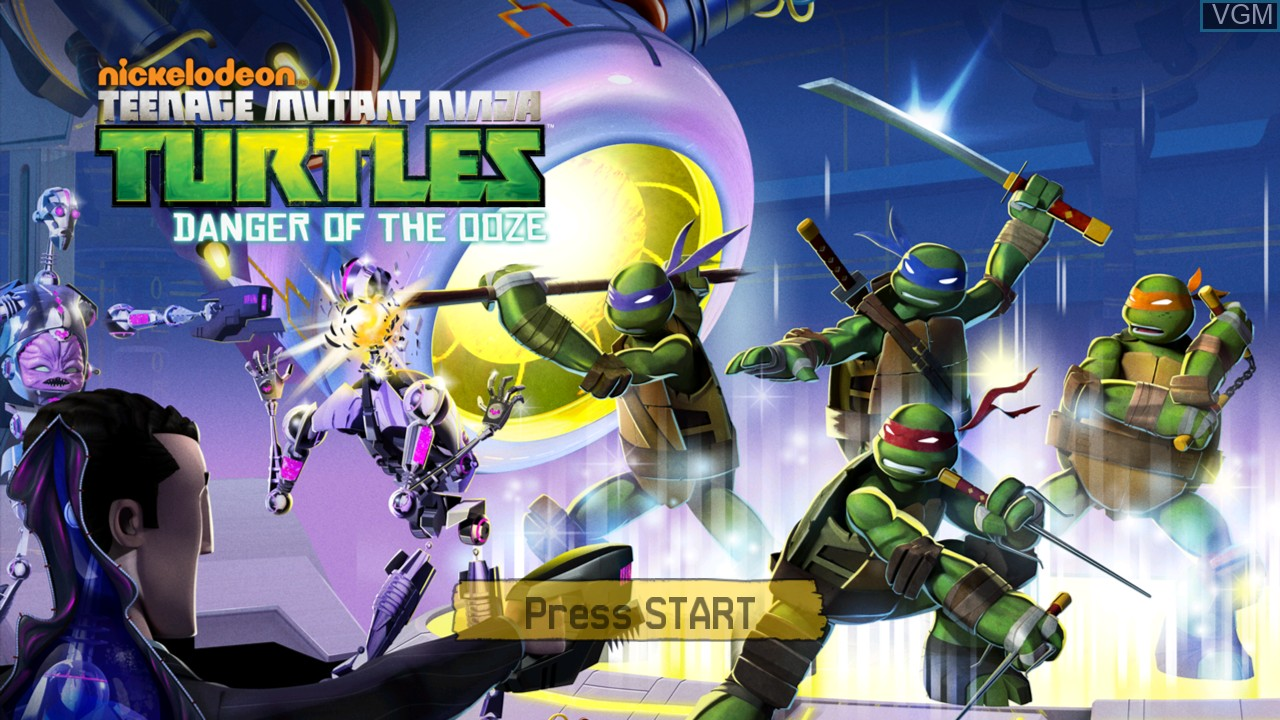 Title screen of the game Teenage Mutant Ninja Turtles - Danger of the Ooze on Microsoft Xbox 360