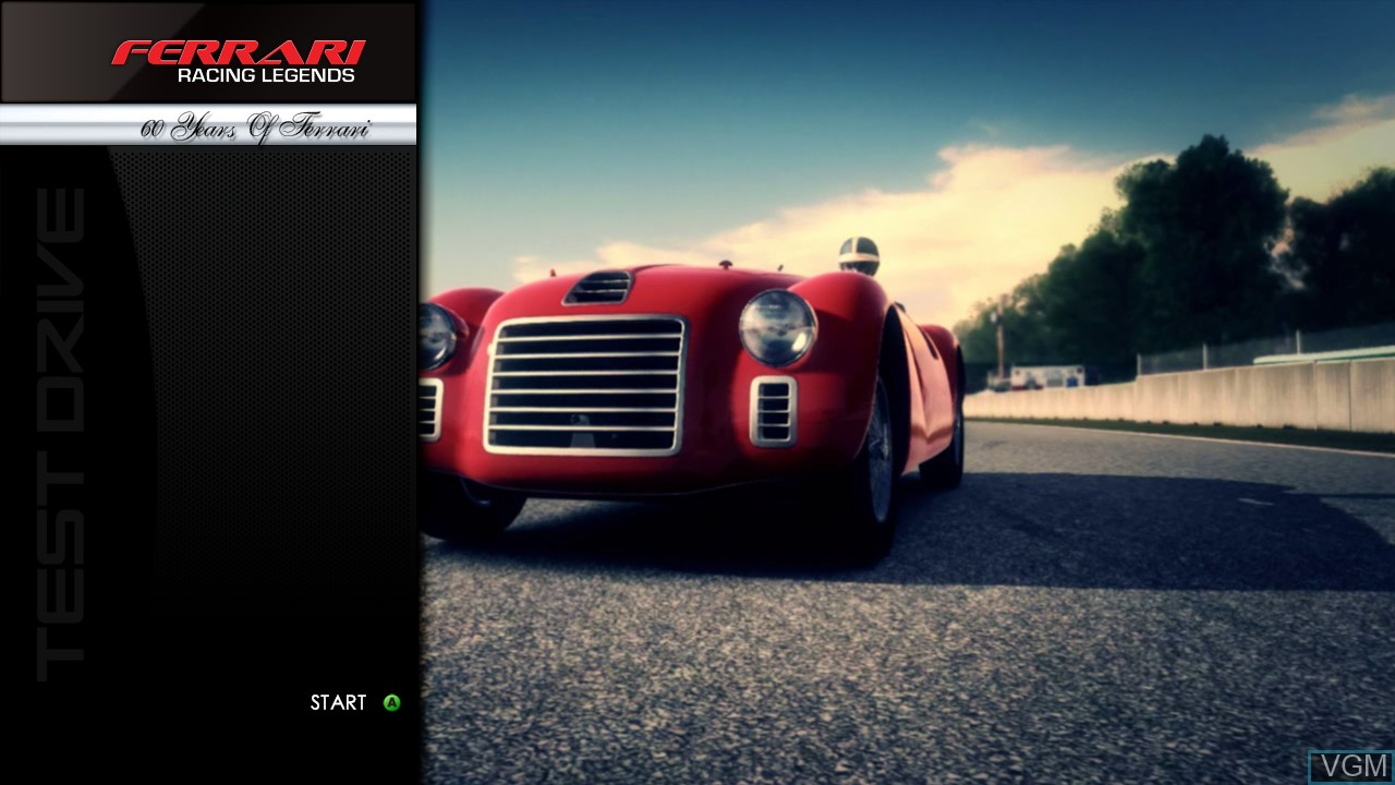 Title screen of the game Test Drive - Ferrari Racing Legends on Microsoft Xbox 360