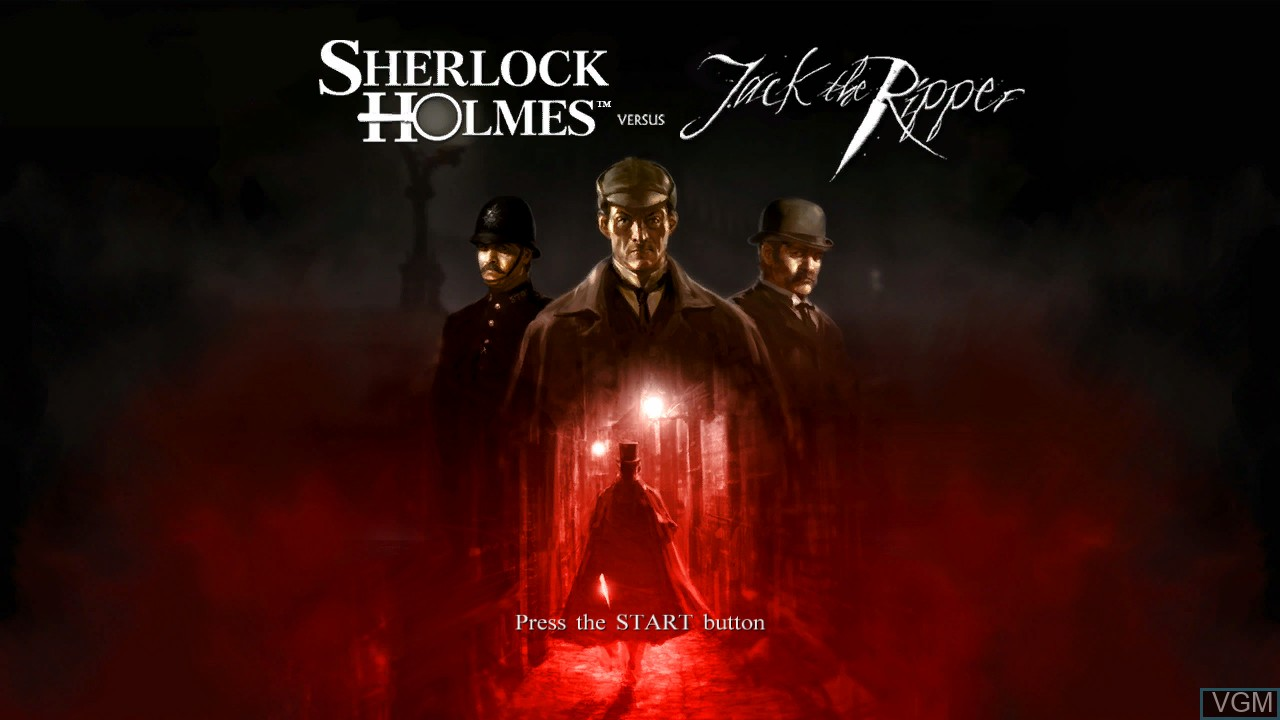 Title screen of the game Sherlock Holmes vs. Jack the Ripper on Microsoft Xbox 360