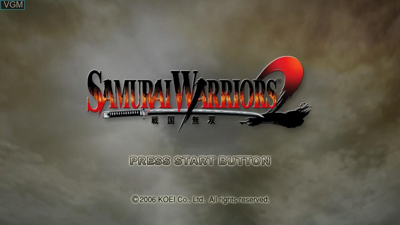 Title screen of the game Samurai Warriors 2 on Microsoft Xbox 360