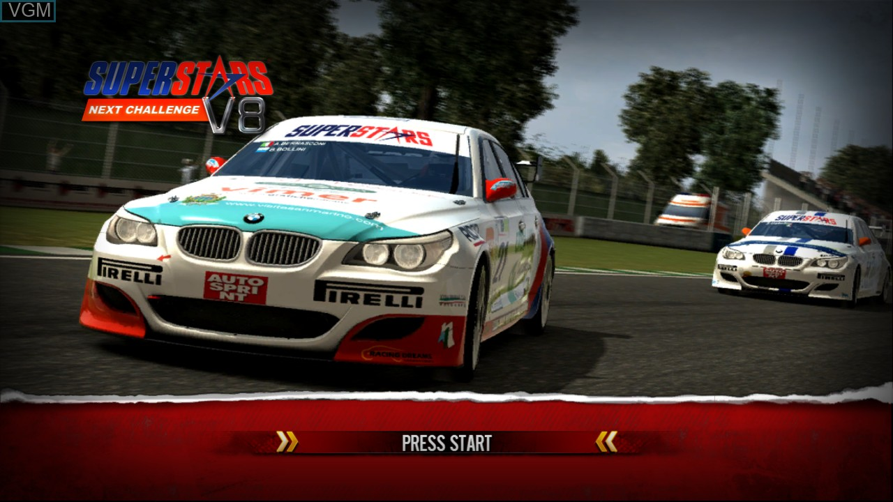 Title screen of the game Superstars V8 Next Challenge on Microsoft Xbox 360