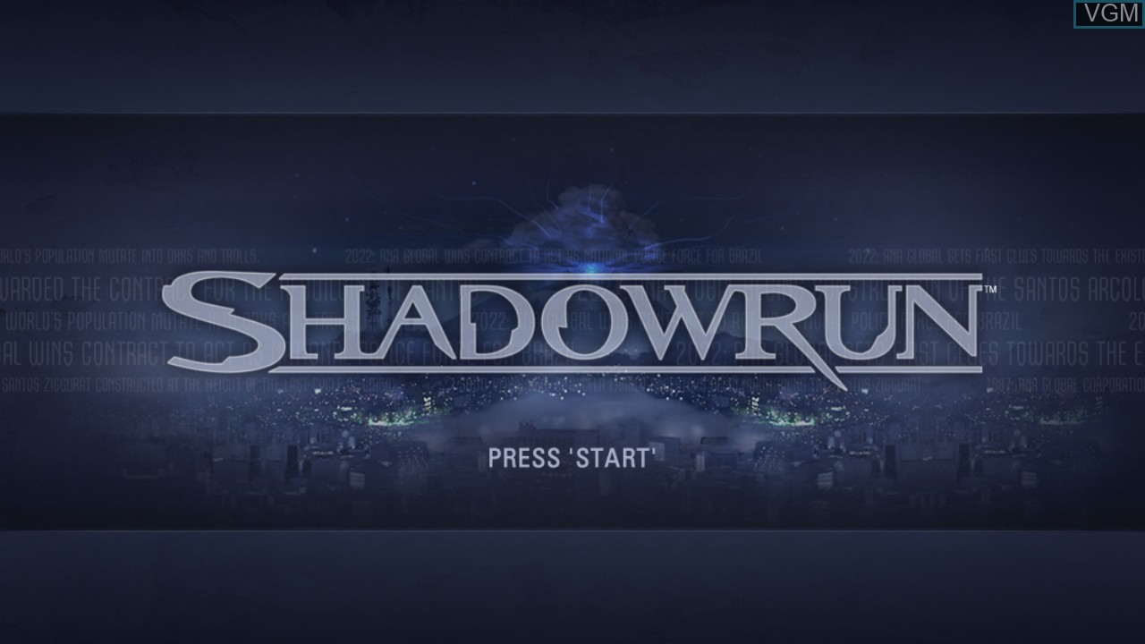 Title screen of the game Shadowrun on Microsoft Xbox 360