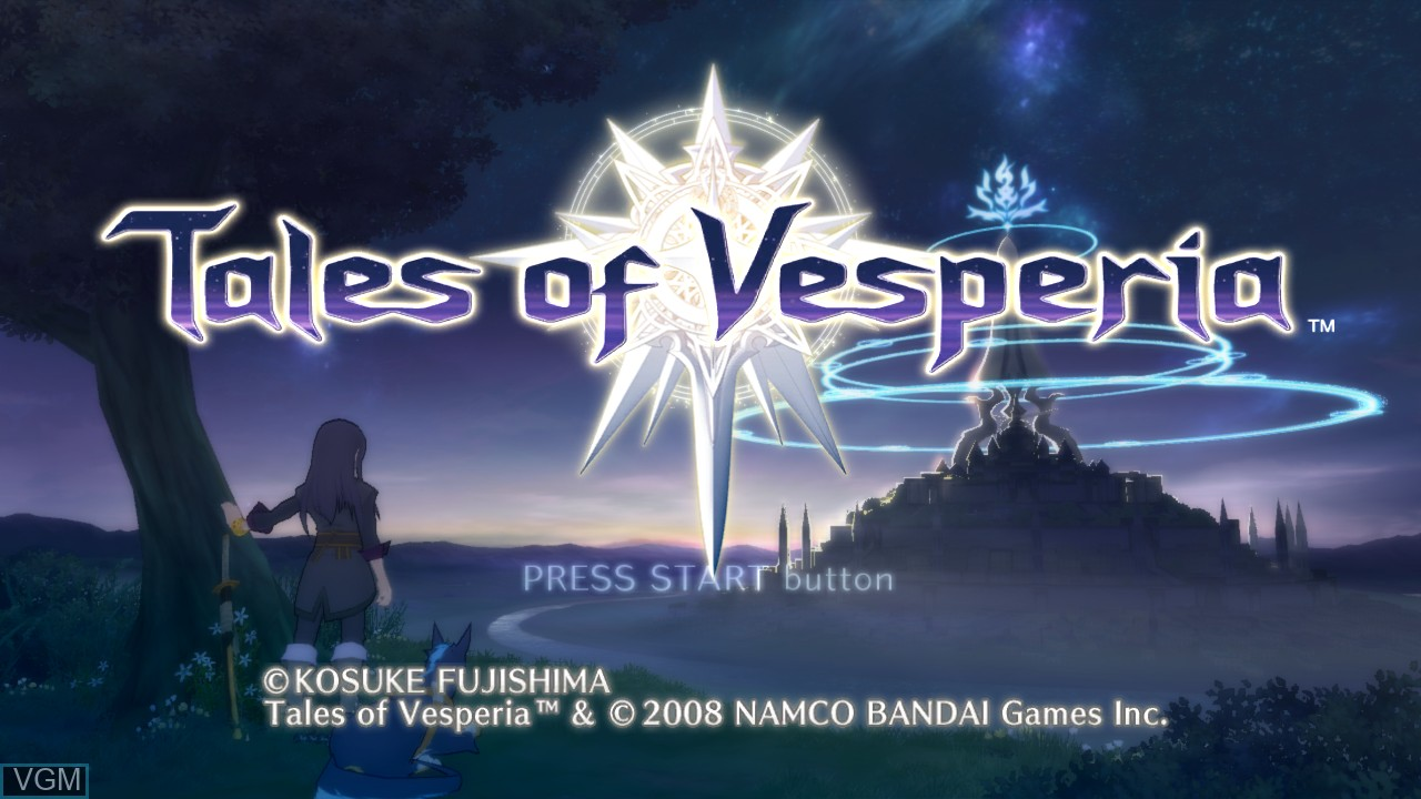 Title screen of the game Tales of Vesperia on Microsoft Xbox 360