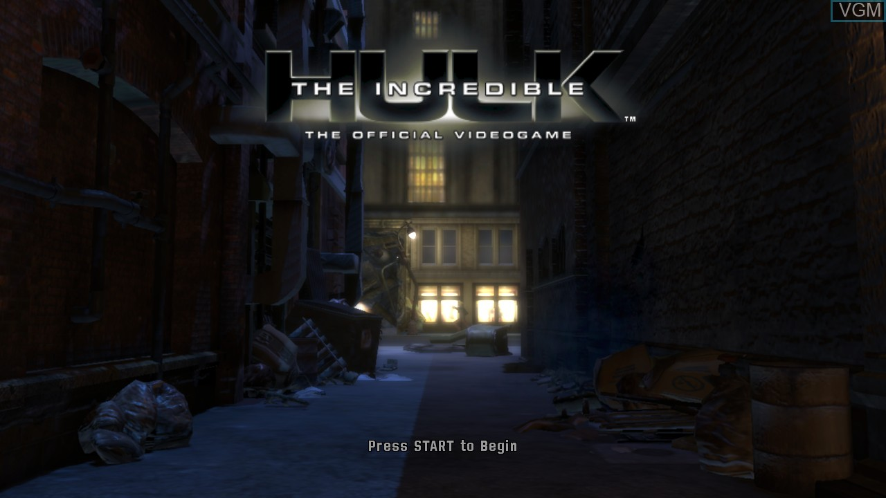 Title screen of the game Incredible Hulk, The on Microsoft Xbox 360