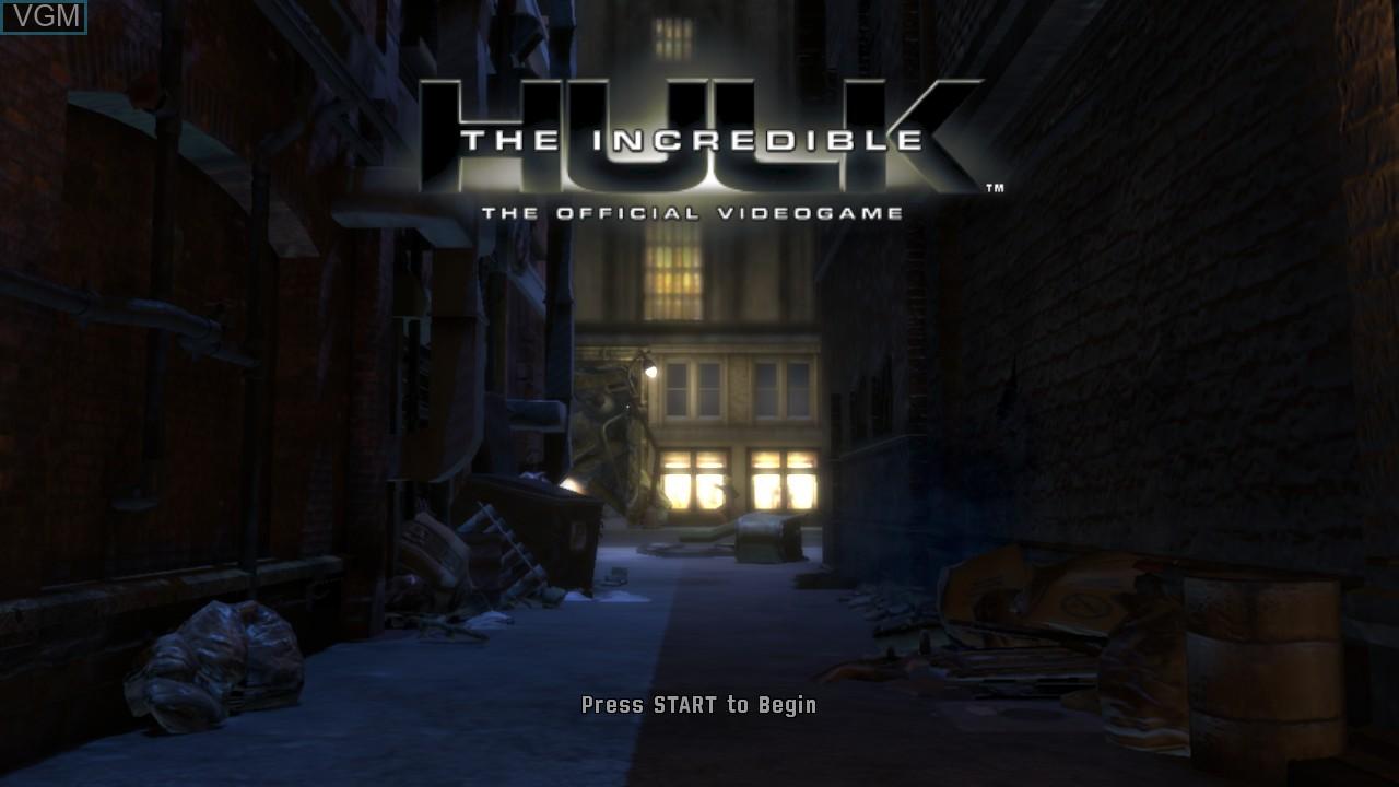 Title screen of the game Incredible Hulk, The on Microsoft Xbox 360