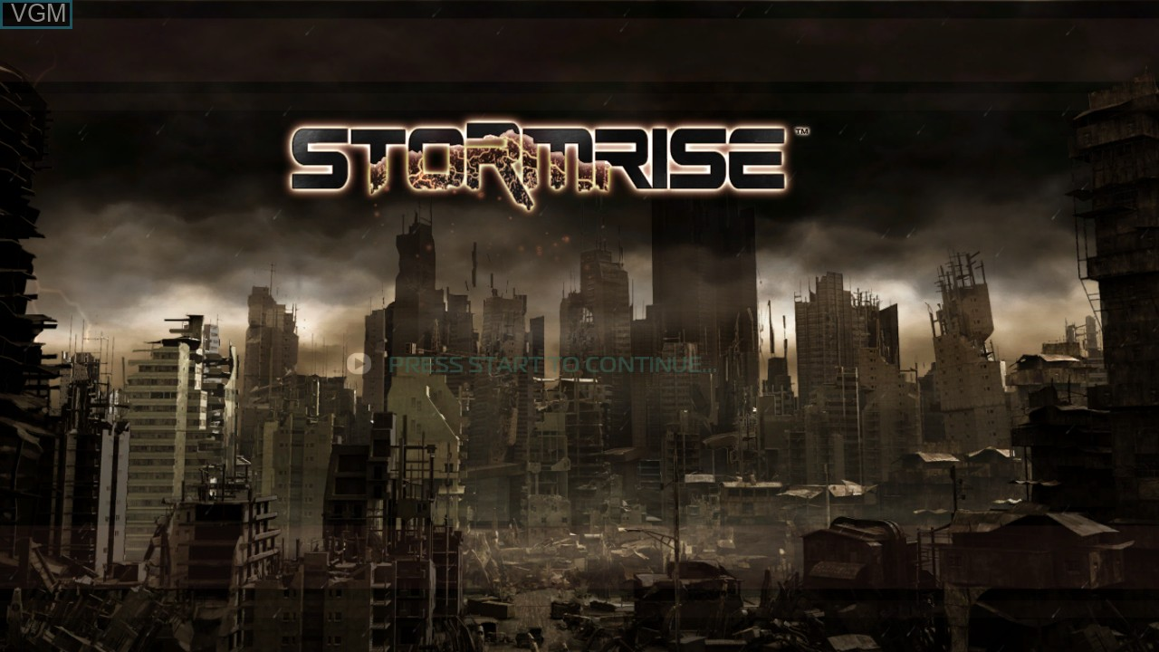 Title screen of the game Stormrise on Microsoft Xbox 360