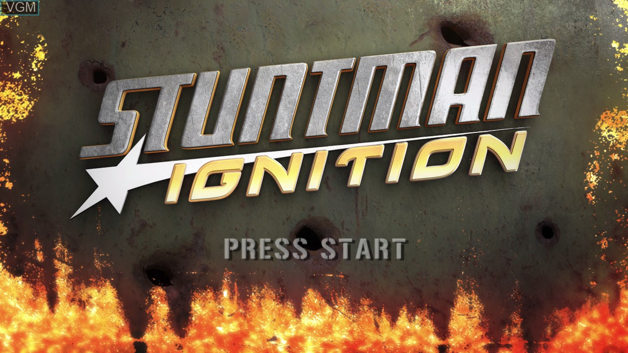 Title screen of the game Stuntman Ignition on Microsoft Xbox 360