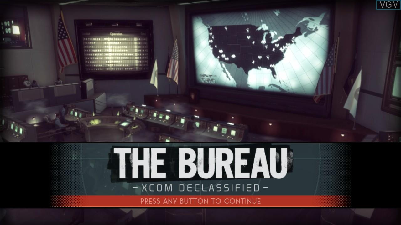 Title screen of the game Bureau, The - XCOM Declassified on Microsoft Xbox 360