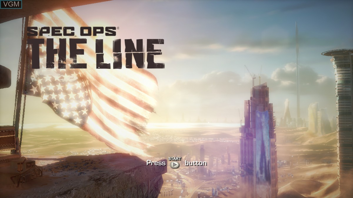 Title screen of the game Spec Ops - The Line on Microsoft Xbox 360