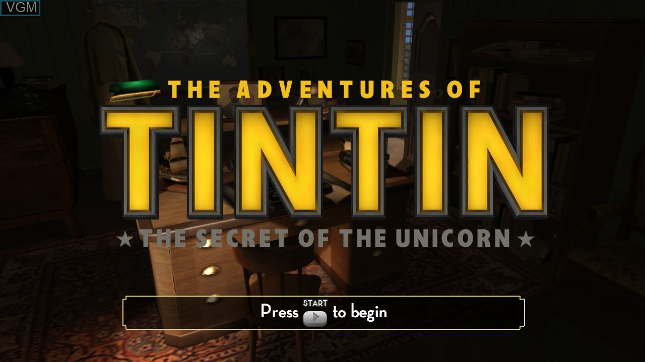 Title screen of the game Adventures of Tintin, The - The Secret of the Unicorn on Microsoft Xbox 360