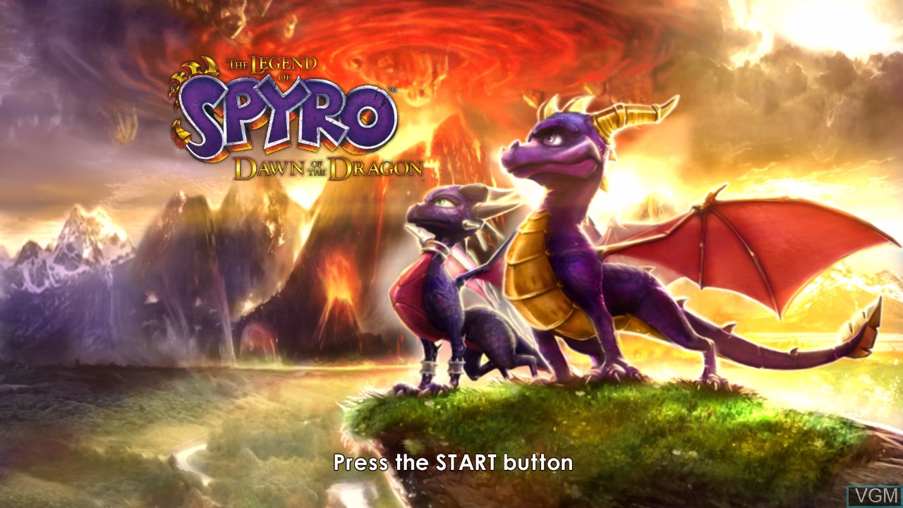Title screen of the game Legend of Spyro, The - Dawn of the Dragon on Microsoft Xbox 360
