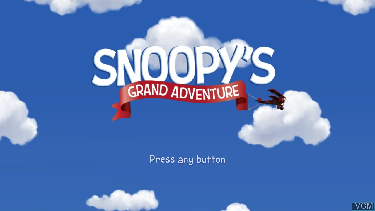 Title screen of the game Peanuts Movie, The - Snoopy's Grand Adventure on Microsoft Xbox 360