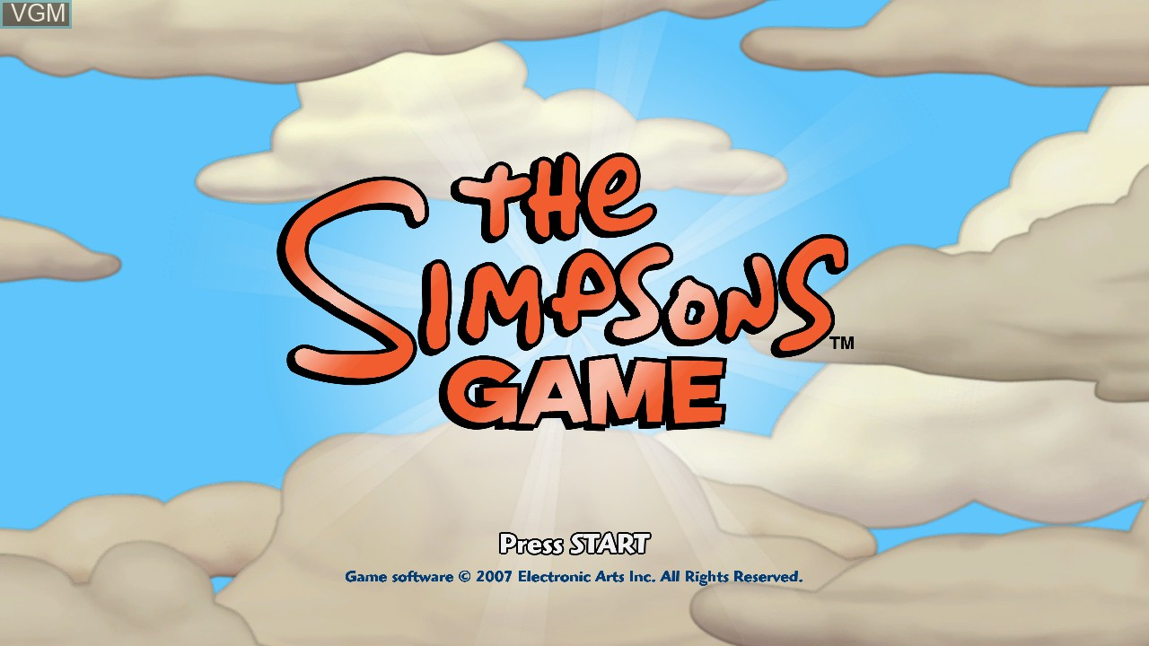 Title screen of the game Simpsons Game, The on Microsoft Xbox 360