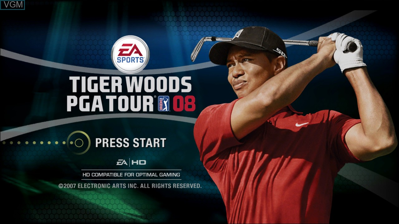 Title screen of the game Tiger Woods PGA Tour 08 on Microsoft Xbox 360