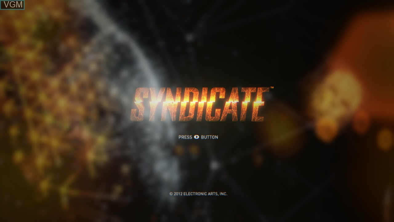 Title screen of the game Syndicate on Microsoft Xbox 360