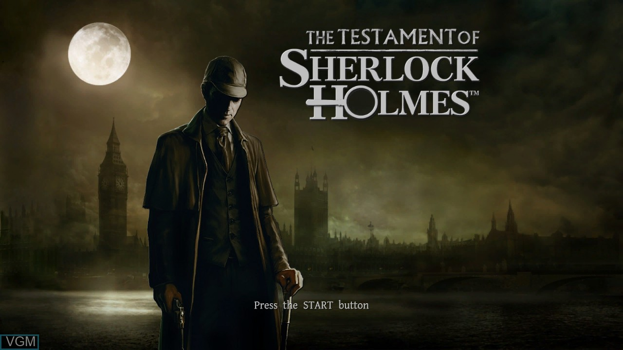 Title screen of the game Testament of Sherlock Holmes, The on Microsoft Xbox 360