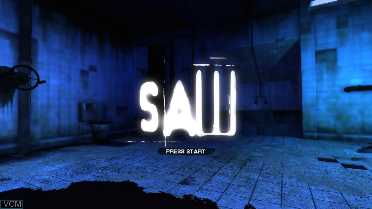 Title screen of the game Saw on Microsoft Xbox 360