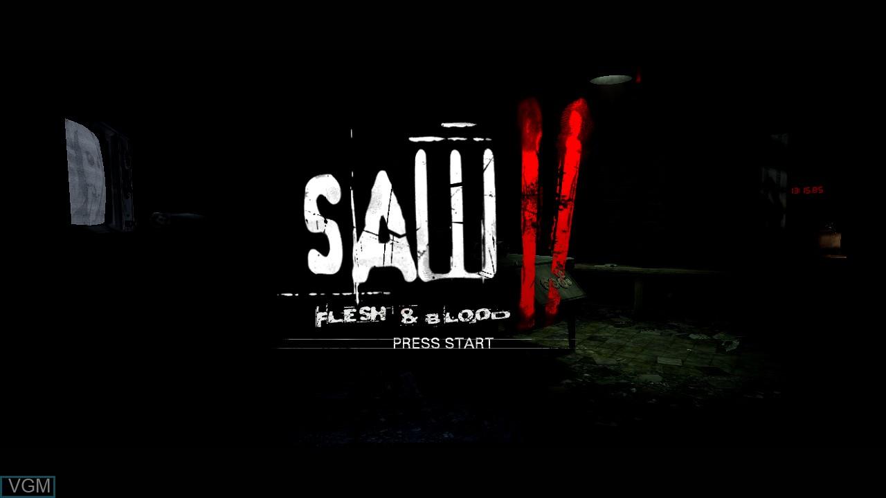 Title screen of the game Saw II - Flesh & Blood on Microsoft Xbox 360