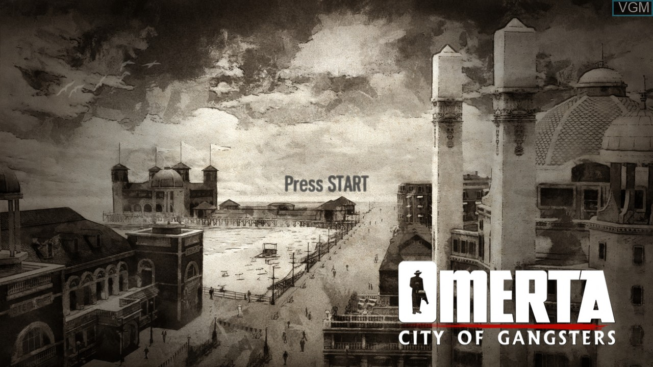 Title screen of the game Omerta - City of Gangsters on Microsoft Xbox 360