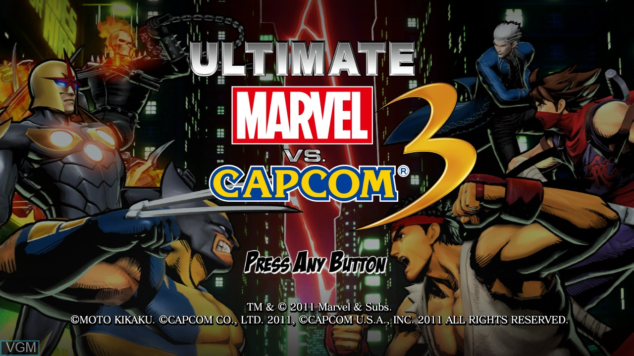 Title screen of the game Ultimate Marvel vs. Capcom 3 on Microsoft Xbox 360