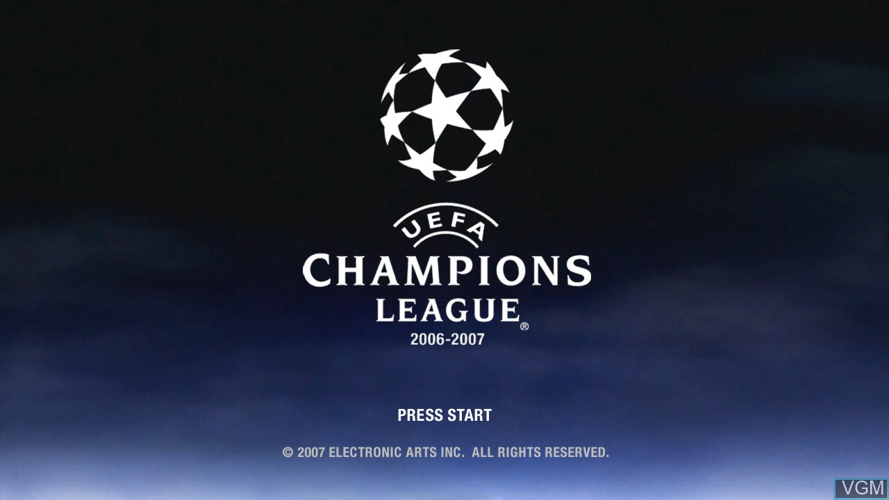 Title screen of the game UEFA Champions League 2006-2007 on Microsoft Xbox 360