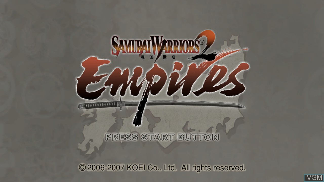 Title screen of the game Samurai Warriors 2 Empires on Microsoft Xbox 360