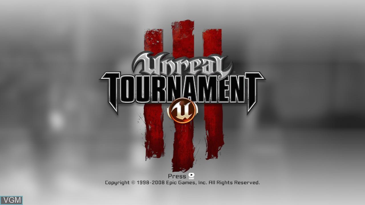 Title screen of the game Unreal Tournament III on Microsoft Xbox 360