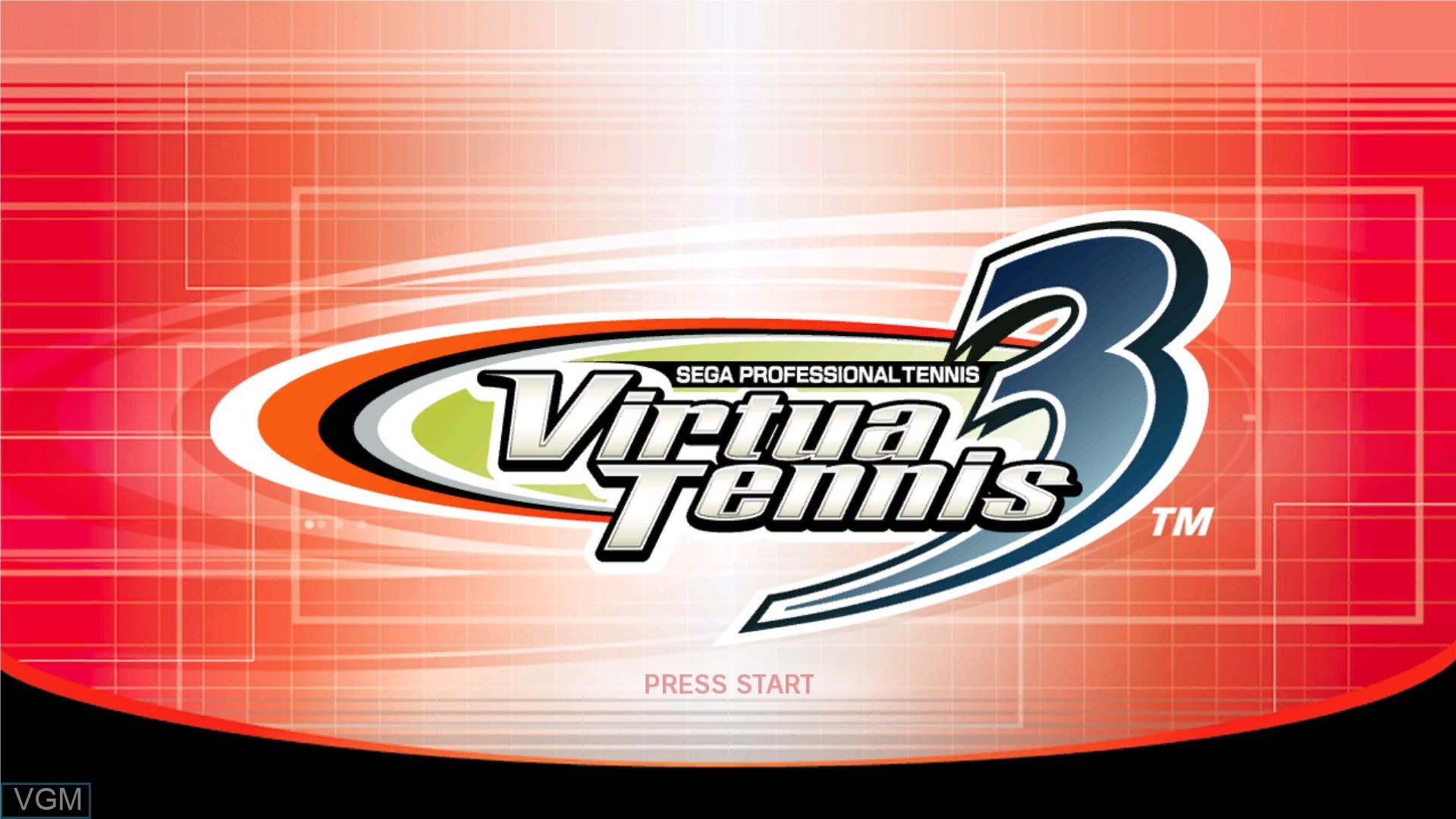 Title screen of the game Virtua Tennis 3 on Microsoft Xbox 360