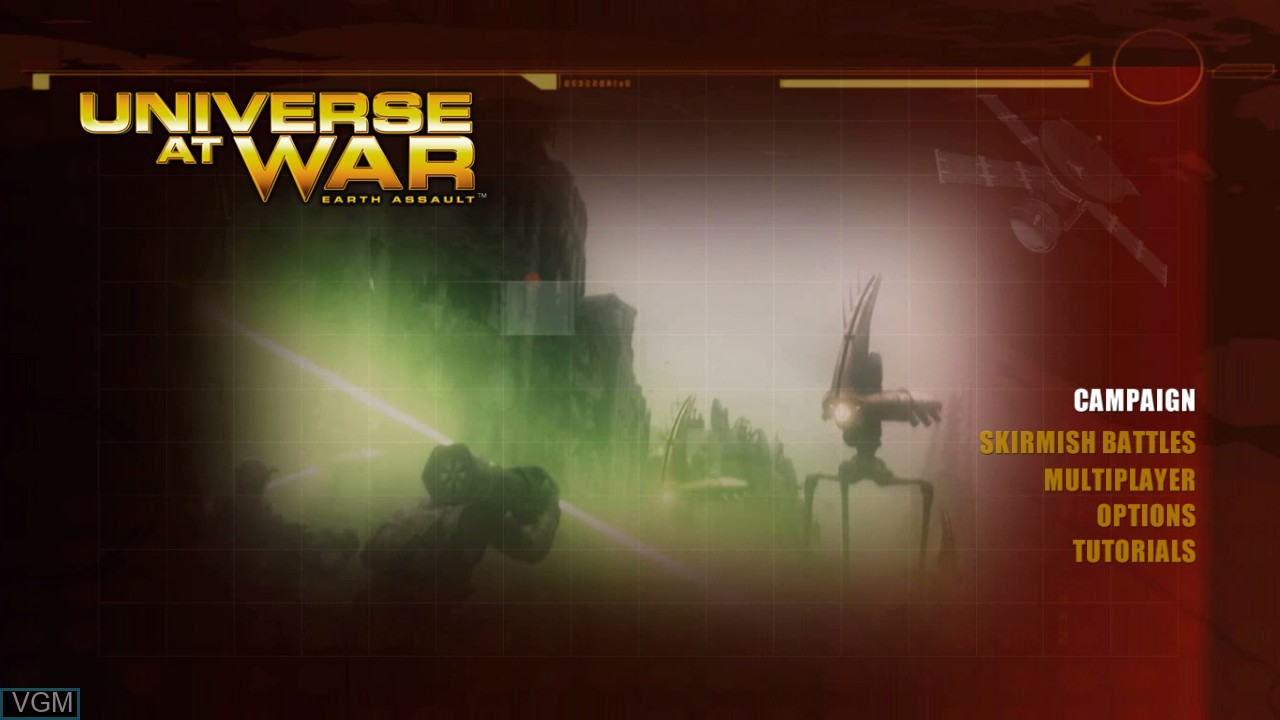 Title screen of the game Universe at War - Earth Assault on Microsoft Xbox 360