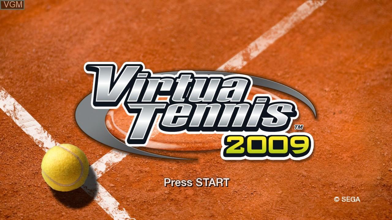 Title screen of the game Virtua Tennis 2009 on Microsoft Xbox 360