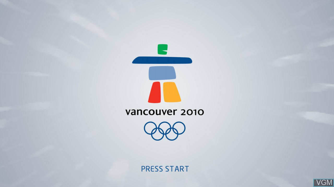 Title screen of the game Vancouver 2010 - The Official Video Game of the Olympic Winter Games on Microsoft Xbox 360