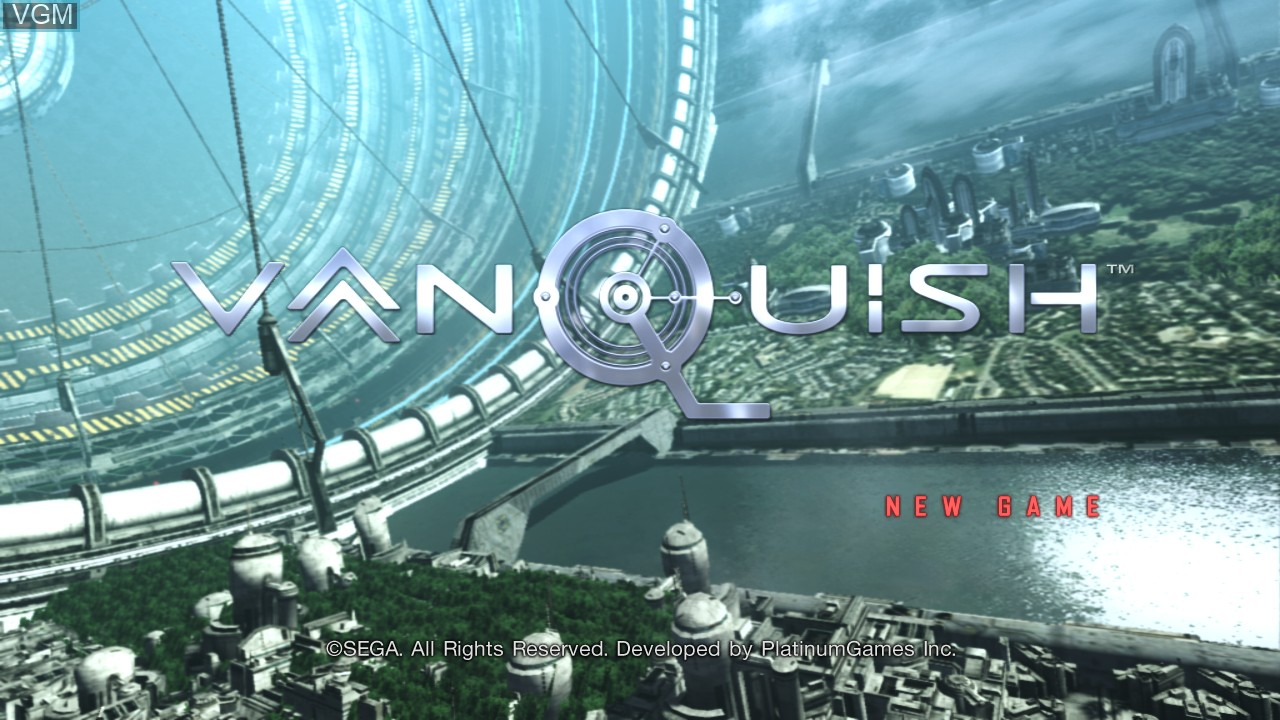 Title screen of the game Vanquish on Microsoft Xbox 360