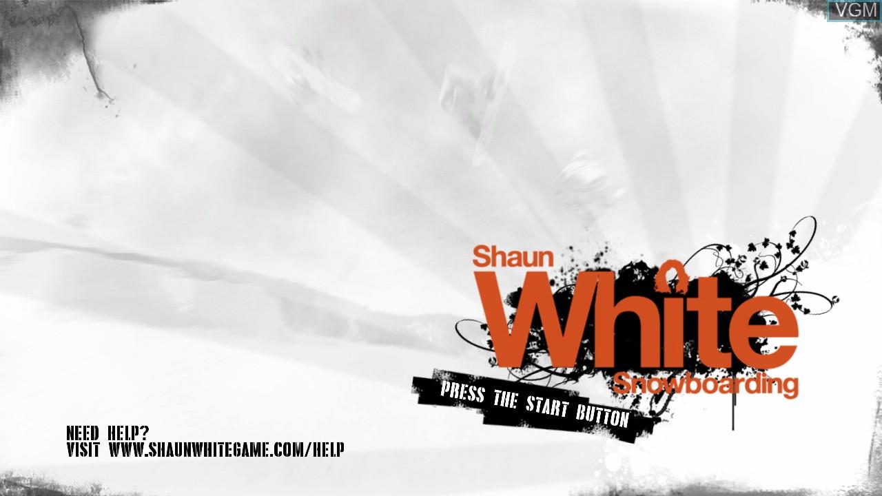 Title screen of the game Shaun White Snowboarding on Microsoft Xbox 360