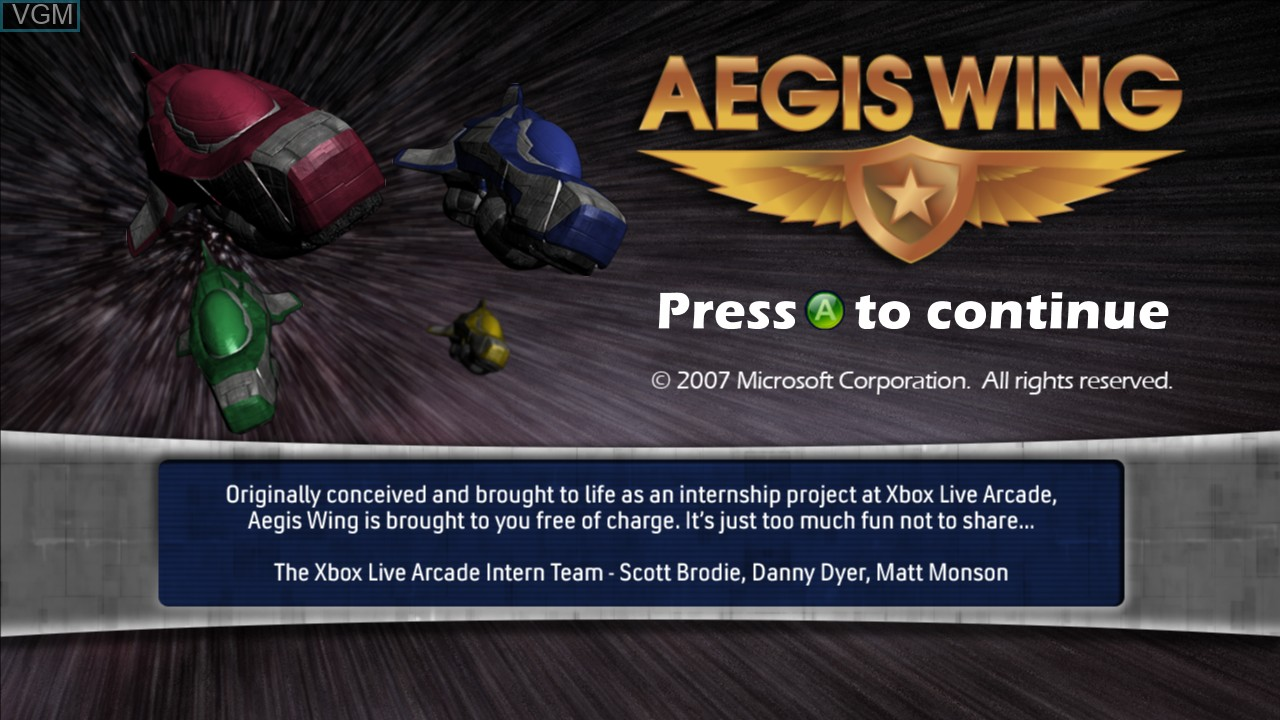 Title screen of the game Aegis Wing on Microsoft Xbox 360