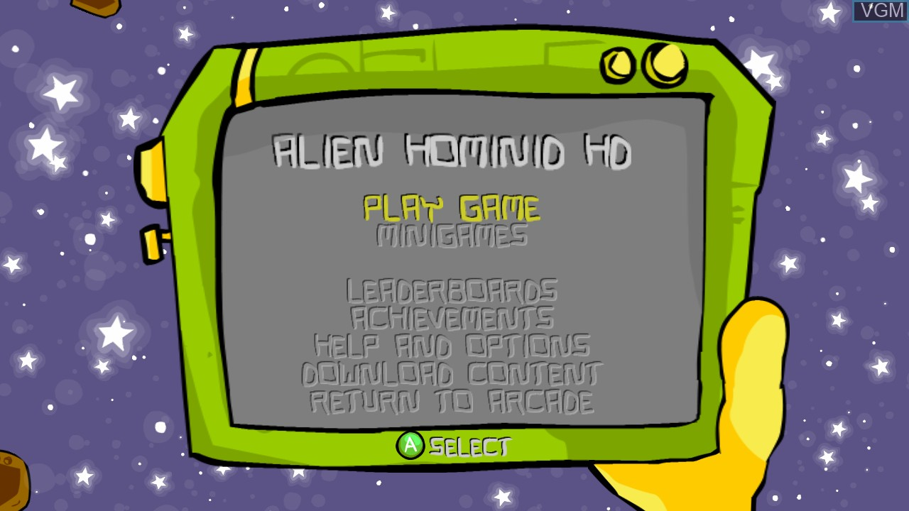 Title screen of the game Alien Hominid HD on Microsoft Xbox 360