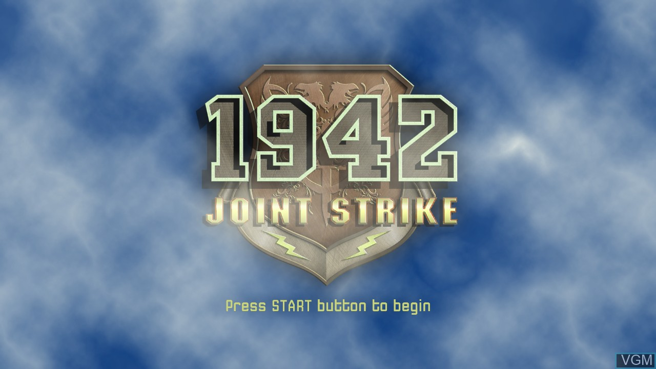 Title screen of the game 1942 - Joint Strike on Microsoft Xbox 360