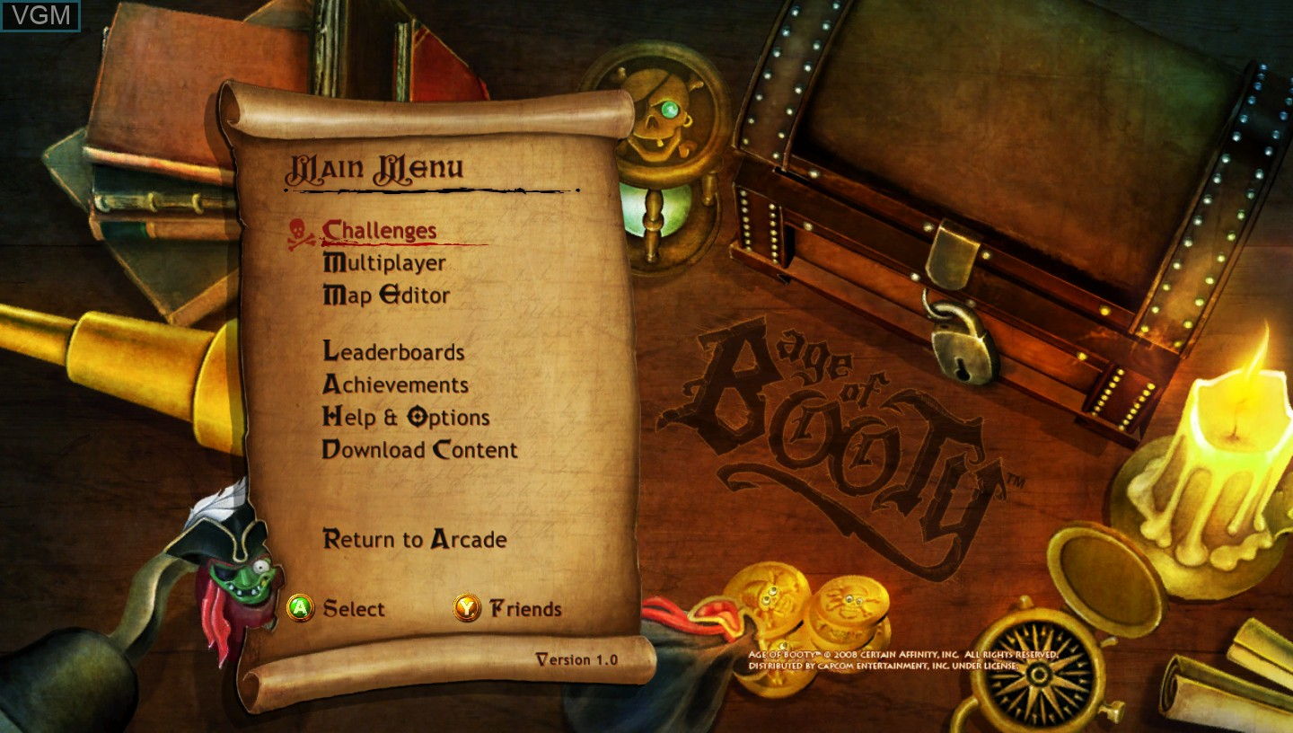 Title screen of the game Age of Booty on Microsoft Xbox 360