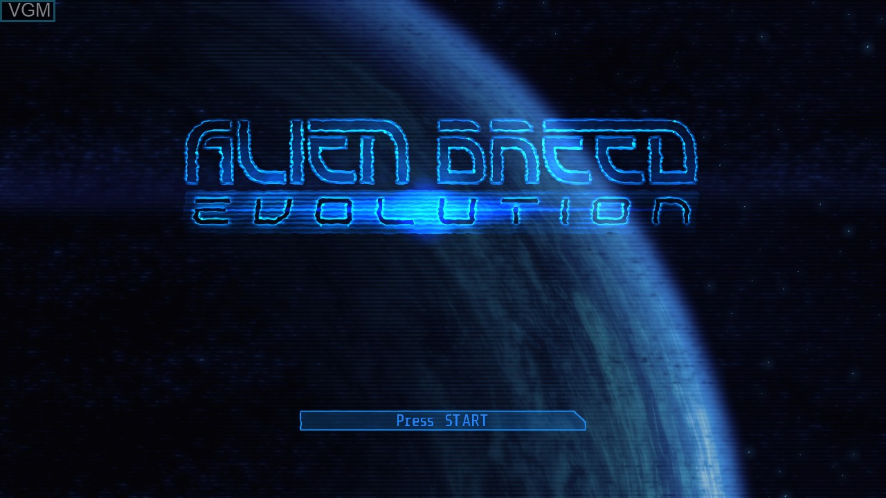 Title screen of the game Alien Breed - Evolution on Microsoft Xbox 360