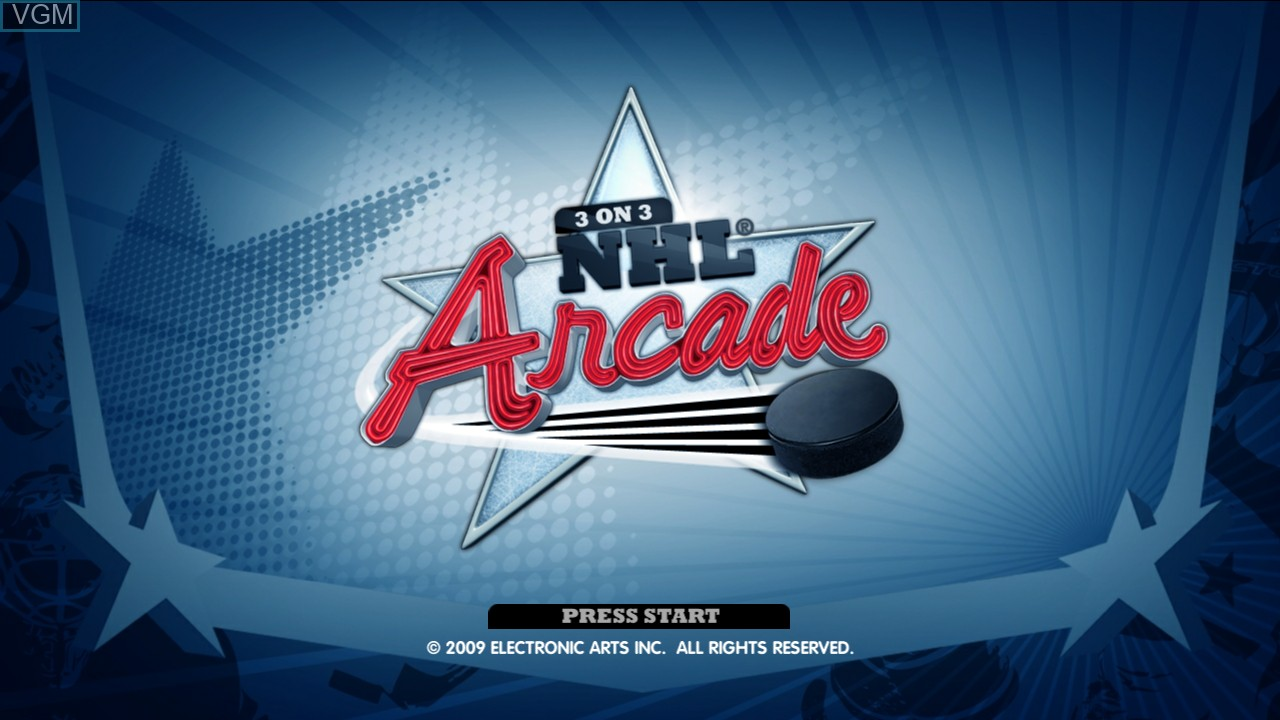 Title screen of the game 3 on 3 NHL Arcade on Microsoft Xbox 360