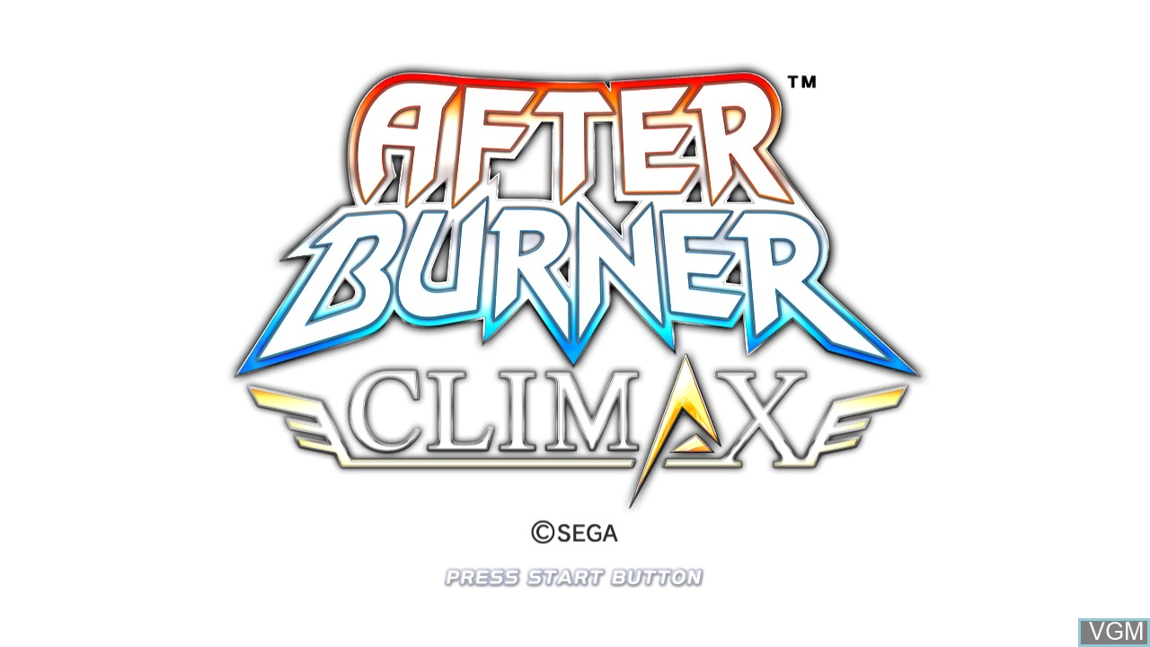 Title screen of the game After Burner Climax on Microsoft Xbox 360