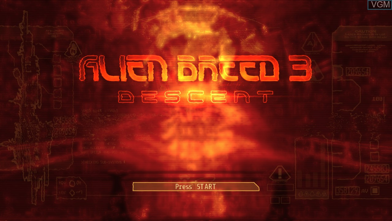 Title screen of the game Alien Breed 3 - Descent on Microsoft Xbox 360