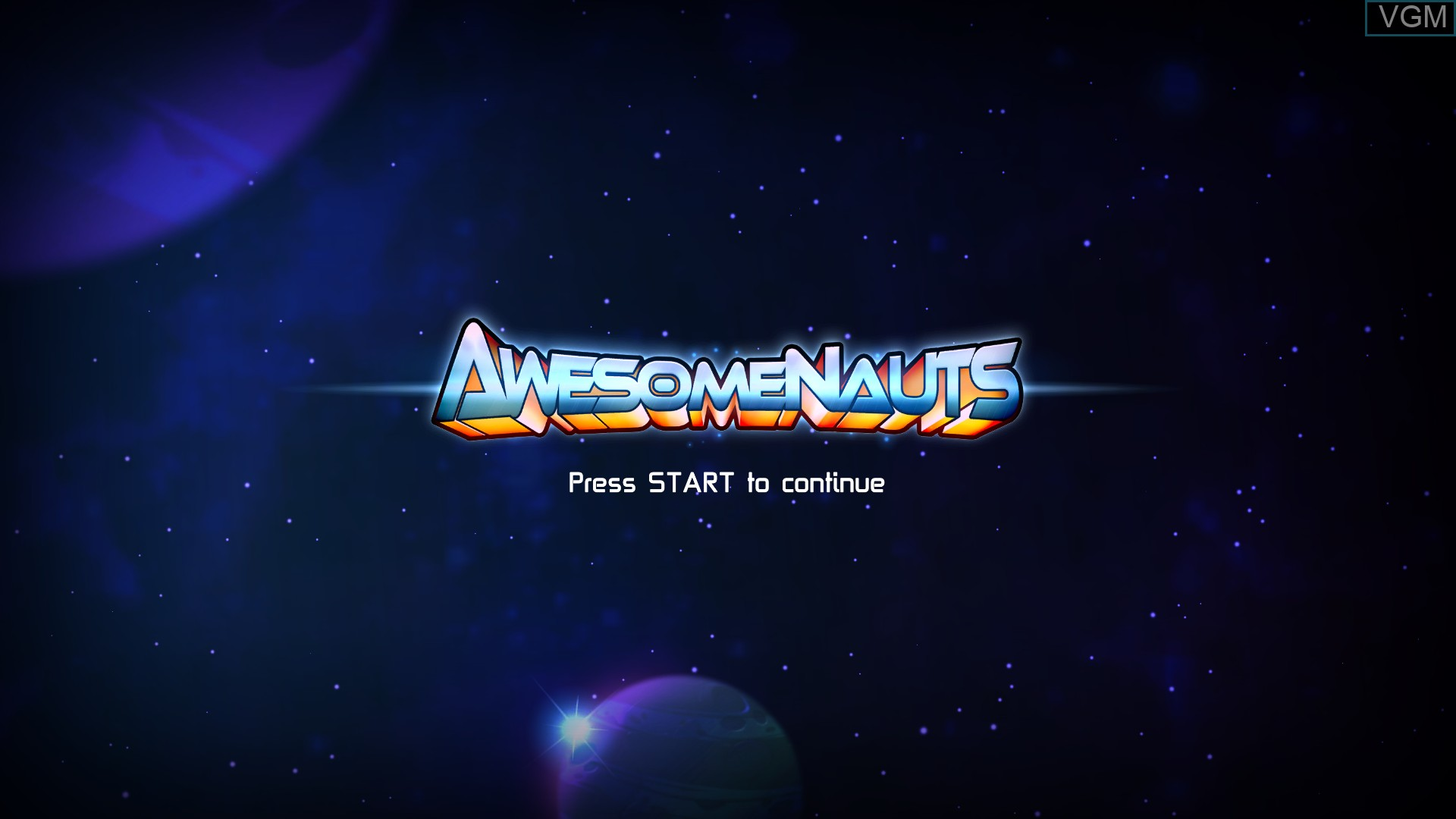 Title screen of the game Awesomenauts on Microsoft Xbox 360